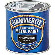 Hammerite Direct To Rust Metal Paint Hammered Black 0.25 Litres