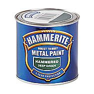 Hammerite Direct To Rust Metal Paint Hammered Deep Green 0.25 Litres