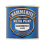 Hammerite Direct To Rust Metal Paint Hammered White 0.75 Litres