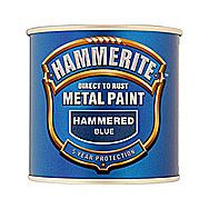 Hammerite Direct To Rust Metal Paint Hammered Blue 0.75 Litres