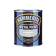 Hammerite Direct To Rust Metal Paint Hammered Silver 0.25 Litres