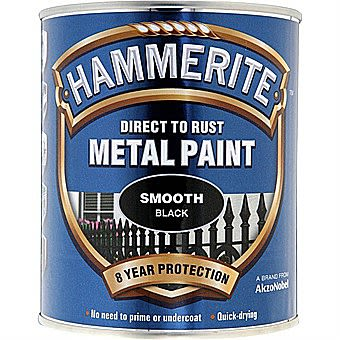 Hammerite Direct To Rust Metal Paint Smooth Black 0.75 Litres
