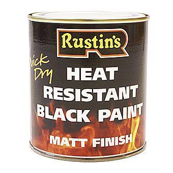 Rustins Heat Resistant Black Paint Matt Black 0.5 Litre