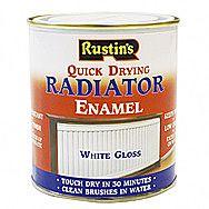Rustins Quick Drying Radiator Enamel In Gloss White 0.5 Litre