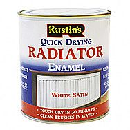 Rustins Quick Drying Radiator Enamel In Satin White 0.5 Litre