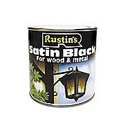 Rustins Satin Black Quick Drying Paint 0.5 Litres