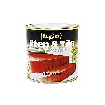 Rustins Tile And Step Paint In Tile Red 0.5 Litre