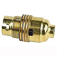 Brass Switched Lamp Holder 1/2 Inch Thread EL119P Bayonet Bulbs