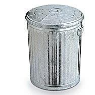 Galvanised Dust Bin With Metal Lid