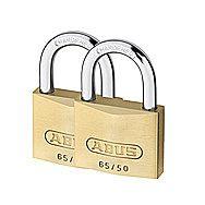 Abus 65/50 50mm Keyed Alike Brass Padlocks 2 Pack