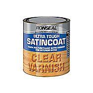 Ronseal Ultra Tough SatinCoat Clear Varnish 750ml