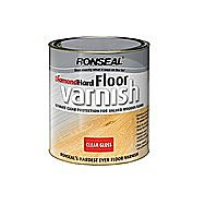 Ronseal Diamond Hard Floor Varnish Gloss Clear Crystal 5 Litres