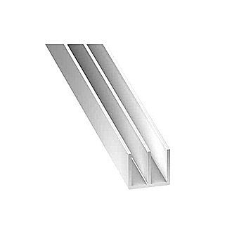 Picture of White Plastic Double U Channel Profile 21x10.5mm 2 Metre Length