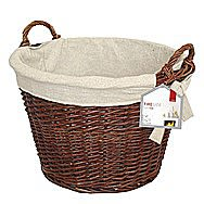De Vielle Natural Wicker Round Log Basket and Liner