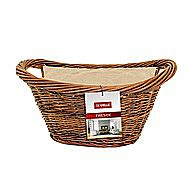 De Vielle Natural Wicker Oval Log Basket and Liner