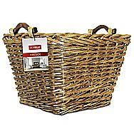 DeVielle Premium Heavy Duty Lined Square Willow Log Basket DEF762847