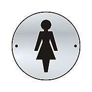 Centurion 2434-2 Satin Stainless Steel Ladies Graphic Door Sign 75mm
