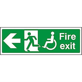 Centurion 1830 Disabled Fire Exit Left PVC Sign 450 x 150mm