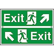 Centurion 1518 Diagonal Arrow Exit Signs 300 x 100mm Pack of 2