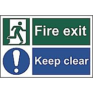 Centurion 1540 Fire Exit Keep Clear PVC Sign 300 x 200mm