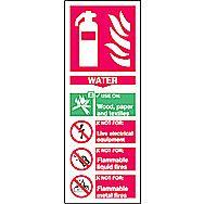 Centurion 1370 Fire Extinguisher Composite Water Sign 200 x 75mm