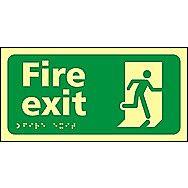 Centurion Fire Exit Tactile Photoluminescent Sign 300 x 150mm
