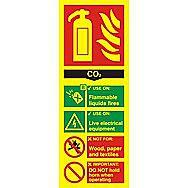 Centurion 1592 Photoluminescent Fire Extinguisher Composite CO2 Sign 200 x 75mm