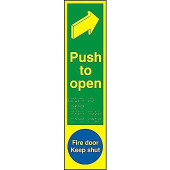 Centurion Tactile Photoluminescent Push to Open / Fire Door Keep Shut Finger Plate 300 x 75mm