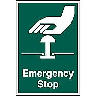 Centurion Emergency Stop PVC Sign 300 x 200mm