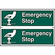 Centurion Emergency Stop PVC Sign 300 x 100mm Pack of 2