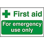 Centurion First Aid For Emergency Use Only PVC Sign 300 x 200mm