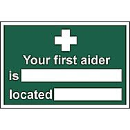 Centurion Your First Aider is Located PVC Sign 300 x 200mm