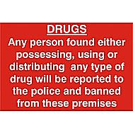 Centurion Drugs Warning PVC Sign 300 x 200mm