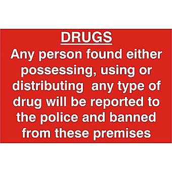 Centurion Drugs Warning PVC Sign 300 x 200mm