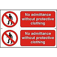 Centurion No Admittance Without Protective Clothing Pack of 2 Signs 300 x 100mm