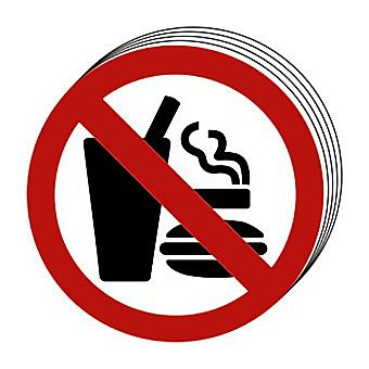 Centurion No Eating No Drinking No Smoking Symbol Signs 100mm Pack of 10