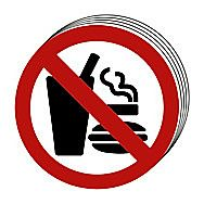Centurion No Eating No Drinking No Smoking Symbol Signs 50mm Pack of 10