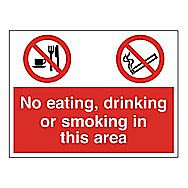 Centurion No Eating, Drinking or Smoking in this Area Sign S/A Vinyl 600 x 450mm