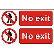 Centurion No Exit PVC Sign 300 x 100mm Pack of 2