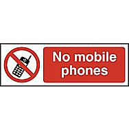 Centurion Rigid PVC No Mobile Phones Sign 600 x 200mm