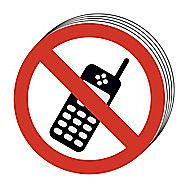 Centurion No Mobile Phones 100mm Disc Signs Pack of 10