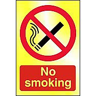 Centurion No Smoking Polished Gold Sign 150 x 100mm