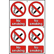 Centurion No Smoking PVC Signs 150 x 100mm Pack of 4