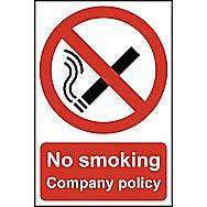 Centurion No Smoking Company Policy PVC Sign 300 x 200mm