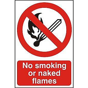 Centurion No Smoking or Naked Flames Self Adhesive Vinyl Sign 300 x 200mm