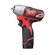 "Milwaukee M12BIW Compact 12v Impact Wrench 1/4"" M12 2 x 2.0Ah Batteries"