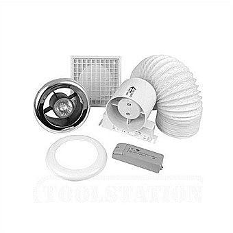 Manrose 4 Inch Inline Shower Light & Timer Extractor Fan Kit