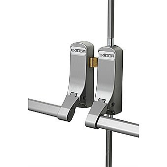 Exidor 285 Rebated Double Door Panic Push Bars Silver
