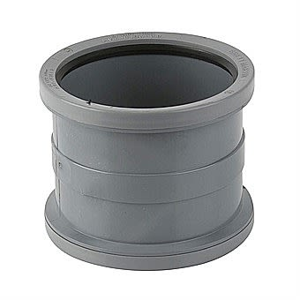 Soil Pipe Double Socket Connector Grey 110mm