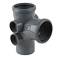 Soil Pipe Double Socket Branch with 4 Bosses Grey 110mm 92.5º